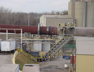 Tire recycling - Used tires being fed mid-kiln to a pair of long cement kilns