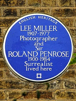 Photo of Lee Miller and Roland Penrose blue plaque