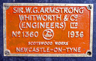 Armstrong Whitworth - Works plate on Armstrong Whitworth-built LMS Stanier Class 5 4-6-0 45305 showing completion in 1936