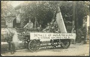 Degree of Pocahontas -  Degree of Pocahontas float in the Fraternal Day Parade, 1914, Battle Creek Michigan