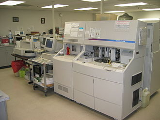 Automated analyser - Chemistry analysers: Access (left); Coulter (right).