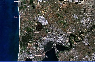 Lake Monger - NASA World Wind image of Perth, Western Australia with Lake Monger centred at the crosshair