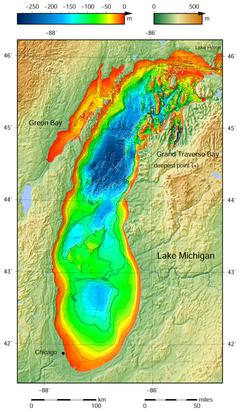 Mapa de batimetría del lago Michigan.png