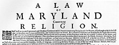 "A printed page titled ""A Law of Maryland Concerning Religion"""