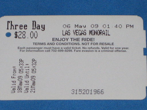 Las Vegas Monorail Ticket Back