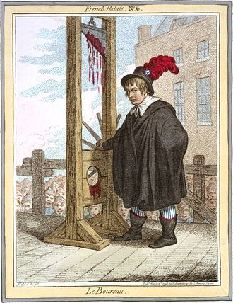 Society of the Friends of the People - Cartoon shows George Tierney dressed as an executioner standing next to a guillotine with a crowd of liberty-capped citizens in the background.
