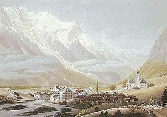 Le mont Blanc vu de Chamouni, tableau de Jean Dubois (début du XXè).jpg