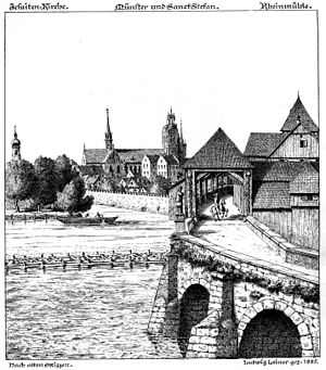 Old Rhine Bridge (Constance) -  Ludwig Leiner: Old bridge over the Rhine in Konstanz, drawn in 1885 based on old sketches