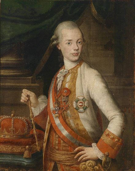 Leopold as Grand Duke of Tuscany, the protector of the Academy of Georgofili by Pompeo Batoni Leopold als Grossherzog von Toskana.jpg