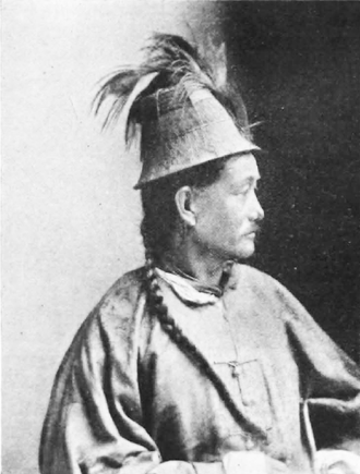 Lepcha people - Photograph of a Lepcha c. 1900, wearing the traditional cone-shaped hat