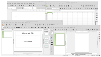 Productivity software - LibreOffice, an example of office suite, showing Writer, Calc, Impress and Draw