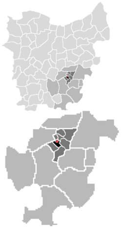 Localisation of Egem, the sub-municipality of Bambrugge, the community of Erpe-Mere and the arrondissement of Aalst in the province of East-Flanders.