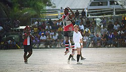 Action from a 1999 Aussie Rules match in Nauru at the Linkbelt Oval