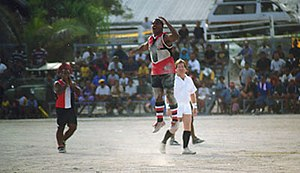 Geography of Australian rules football - Action from an Aussie Rules game in Nauru at the Linkbelt Oval