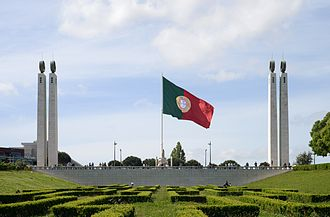 Flag of Portugal - Flag of Portugal at the top of Parque Eduardo VII, Lisboa