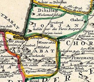Gorgan County - Image: Lisle, Guillaume de.1742. Carte des Pays voisins de la Mer Caspiene, dressee pour l'usage du Roy (M)