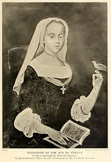 Elisabeth of Bohemia-Palatinate at age 12 from A Sister of Prince Rupert by E. Godfrey. According from the text the original painting this photo is based on was painted by Kaspar Barlens and is located in the Herford Museum.