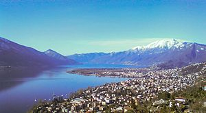Locarno - Locarno on Maggia's delta (Tenero, Minusio, Muralto in front) in mid-March 2010