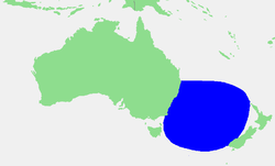 Localización do mar de Tasmania.
