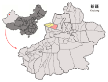 Location of Jinghe within Xinjiang (China).png