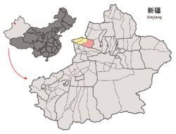 Jinghe County (red) within Bortala Prefecture (yellow) and Xinjiang