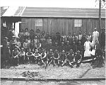 Logging crew, including Spruce Production Division soldiers, at Coats-Fordney camp no 1, ca 1918 (KINSEY 54).jpeg