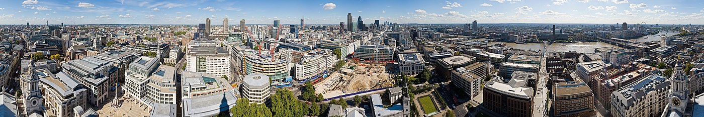 A panorama of London, taken from the Golden Gallery of St Paul's Cathedral.