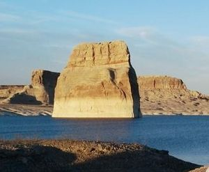 Lone Rock, Lake Powell, Utah - Lone Rock seen from the Lone Rock Beach Campground