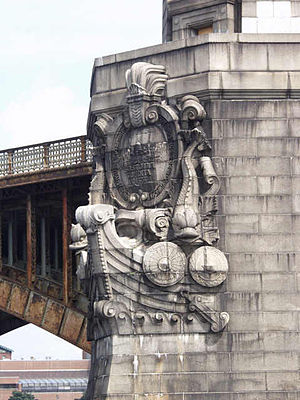 Longfellow Bridge - The main piers have sculptures that represent the prows of Viking ships.