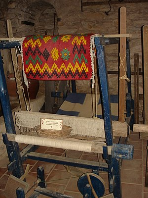 Evangelistria Monastery, Skiathos - The loom on which the first Greek flag was made.