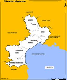 Cartina dei dipartimenti della Linguadoca-Rossiglione