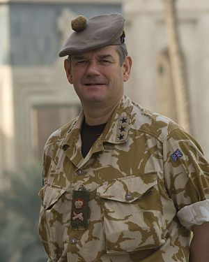 Lieutenant-general (United Kingdom) - Lieutenant General John Cooper wearing both three-star insignia and British lieutenant general insignia