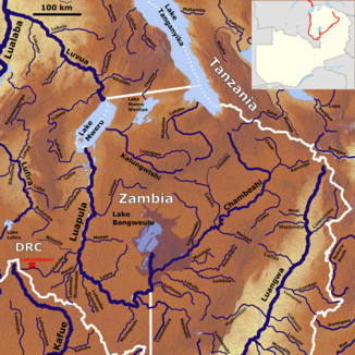 The course of the Luapula with its tributaries (middle left)