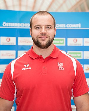 Austria at the 2016 Summer Olympics - Lukas Weißhaidinger at the hand-out of the Austrian teams official attire for the 2016 Summer Olympics
