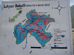 Lulusar-Dudipatsar National Park -  Map of Lulusar-Dudipath National Park