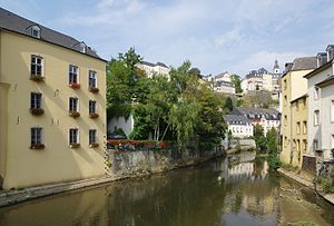 Luxembourg City - View from the Grund up to the Old Town