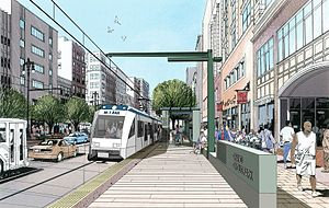 QLine - A 2012 rendering of Grand Circus Park station