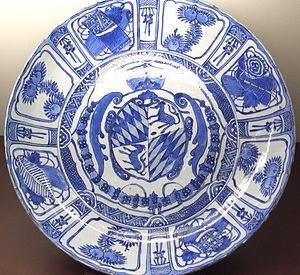 Kraak ware - Relatively unusual Kraak armorial porcelain, for the Wittelsbach family; Wanli reign