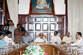 M. Karunanidhi and the Union Minister for Communications and Information Technology, Shri A. Raja at the first state level information technology task force meeting in Chennai on August 23, 2007.jpg