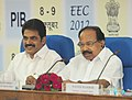 M. Veerappa Moily addressing the Economic Editors' Conference-2012, in New Delhi on October 09, 2012. The Minister of State for Power, Shri K.C. Venugopal is also seen.jpg