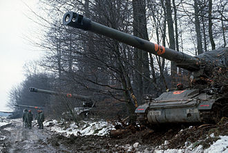 3rd Armored Division Artillery (United States) - M110A2 203mm self-propelled howitzers of the 1st Battalion, 40th Field Artillery are deployed along a line of trees during Central Guardian, a phase of Exercise REFORGER '85 near Weitershain (Landkreis Gießen).