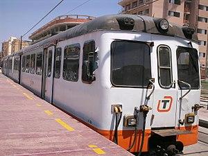 Alicante Tram - Old MAN 2300 series diesel train in El Campello station