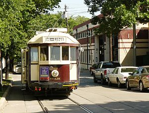 McKinney Avenue Transit Authority - M-line streetcar Matilda in Bowen Ave outside the car barn.