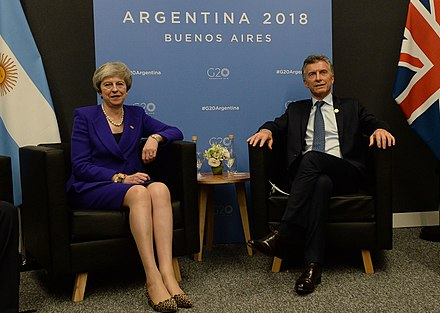 May with the President of Argentina, Mauricio Macri during the 2018 G20 Buenos Aires summit. May is the first British Prime Minister to visit Buenos Aires after the Falklands War. Macri y May en el G20.jpg