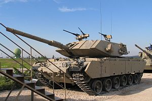Israeli army uses main battle tank Magach 5 fitted with 12 Spike ...