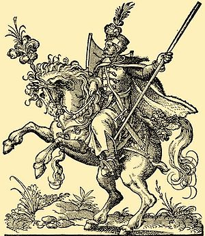Hussar - Hungarian hussar in the 16th century. Woodcut by Jost Amman