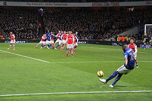 Riyad Mahrez - Mahrez taking a free kick away to Arsenal in February 2015.