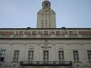 the Main Building of The University of Texas at Austin. Taken upwards from the steps leading into the South Mall on January 20, 2006