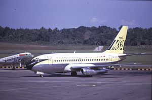 Malaysia–Singapore Airlines - Malaysia-Singapore Airlines Boeing 737, Singapore International Airport, photographed February 1969 × July 1971.