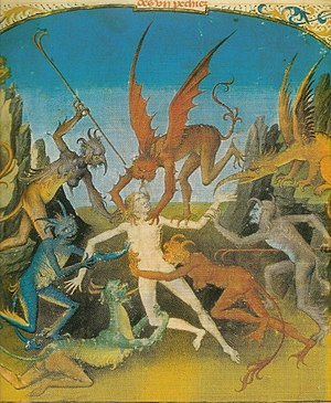 English: Man being attacked by demons and devils